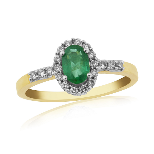 Emerald And Diamond 9 Carat Yellow Gold Half Eternity Ring DER562